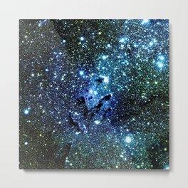 Ocean Blue Space Galaxy : Eagle Nebula Metal Print