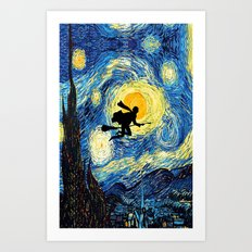 Starry Night Harry Potte with broom Van Gogh Inspired Magic Hogwarts Art Print