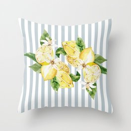 Lemon and flowers on blue stripes  Throw Pillow