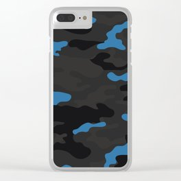 Blue camouflage Clear iPhone Case