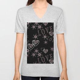 Openwork pattern with hearts.Love , Valentine's day Unisex V-Neck
