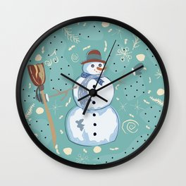 Happy Character of Snowman on a cute winter background with doodles Wall Clock