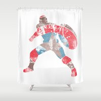 steve rogers Shower Curtains featuring Steve Rogers (CA) - White Background by MajesticSeahawk Designs