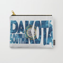 South Dakota Typographic Flag Map Art Carry-All Pouch