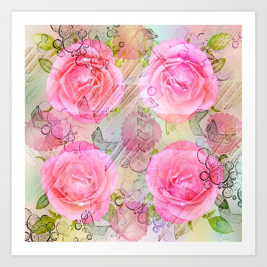 Pink roses on a painterly background Art Print