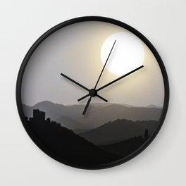 Bright sun over hazy landscape (b&w) Wall Clock