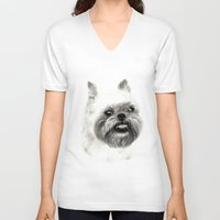 brussels V-neck T-shirts featuring Brussels Griffon Drawing by Danguole Serstinskaja