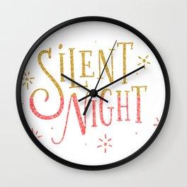Silent Night Modern Typography Wall Clock
