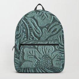 Sagey Teal Tooled Leather Backpack