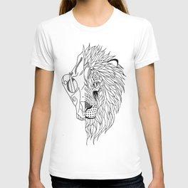 half lion skull, half lion face  T-shirt