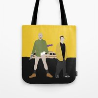 breaking bad Tote Bags featuring Breaking Bad by Bill Pyle