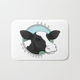 Save the planet cow Bath Mat