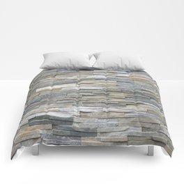 Gray Slate Stone Brick Texture Faux Wall Comforters