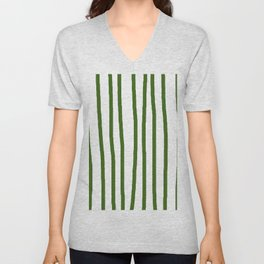 Simply Drawn Vertical Stripes in Jungle Green Unisex V-Neck