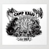 kaiju Art Prints featuring Camp Kaiju by Austin James