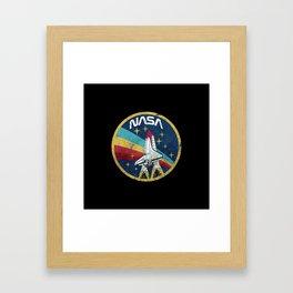 Galaxy Retro Vintage Rocket Framed Art Print