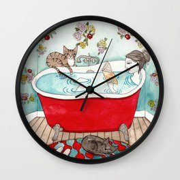 Reading in the Bath Wall Clock