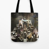 minerals Tote Bags featuring Don't Touch the Minerals by kindercore