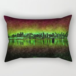 NYC Surreal Green Rectangular Pillow