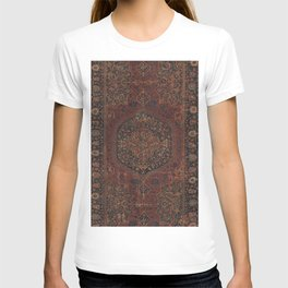 Boho Chic Dark I // 17th Century Colorful Medallion Red Blue Green Brown Ornate Accent Rug Pattern T-shirt