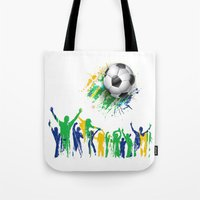 world cup Tote Bags featuring World Cup Fever by Robin Curtiss