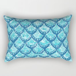 MERMAID SPARKLE Fish Scales Scallop Watercolor Rectangular Pillow