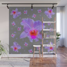 GREY ART TROPICAL LILAC CATTLEYA ORCHID FLOWERS Wall Mural