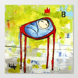 Baby in High Chair Canvas Print