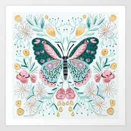 Butterfly - pink and mint, butterflies, roses, daisies, rose, daisy, butterflies Art Print