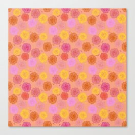 Hibiscus Hawaiian Flowers in Pinks and Corals on Peach Canvas Print