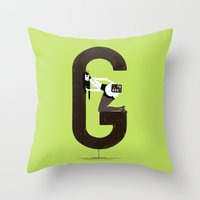 gemma correll Throw Pillows featuring Gemma & Targa by ChicksAndType