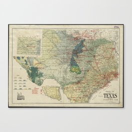 Vintage Map of The Texas Oil and Gas Fields (1920) Canvas Print