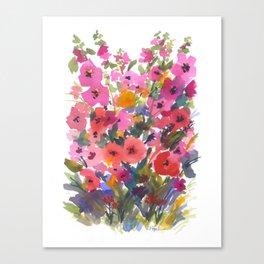 My Red Hollyhocks Canvas Print