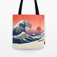 huebucket Tote Bags featuring The Great Wave of Pug   by Huebucket