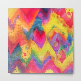 BOLD QUOTATION in NEONS 2 - Intense Rainbow Abstract Watercolor Art Painting Dream Pink Ikat Pattern Metal Print
