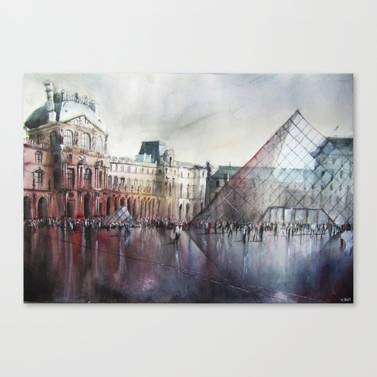 Le Louvre - Paris Watercolor Canvas Print