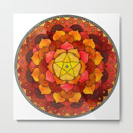 Star Mandala Flame Metal Print