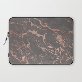 Modern Grey cement concrete on rose gold marble Laptop Sleeve