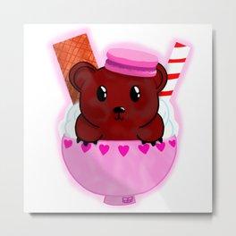 Cuddly Cappuccino Bear Metal Print