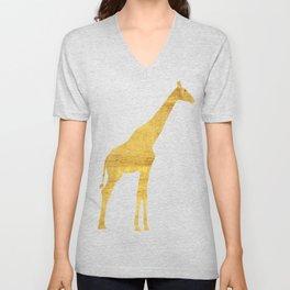 Giraffe Silhouette in Gold Unisex V-Neck