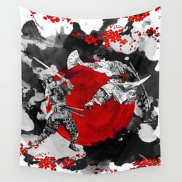 Samurai Fighting Wall Tapestry
