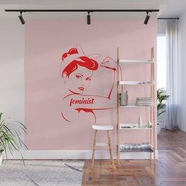 Feminist cool woman logo Wall Mural