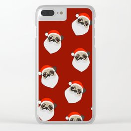 Santa Pugs Clear iPhone Case