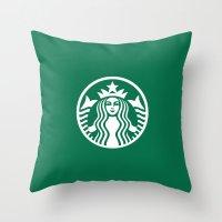 starbucks Throw Pillows featuring Starbucks by nZ.Design