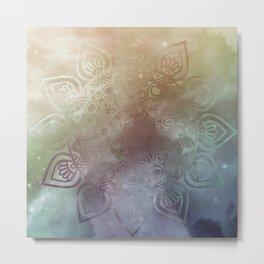 Universe Mandala Glow Metal Print