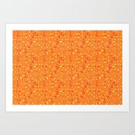 Mosaic Pixel Orange Yellow Pattern Art Print