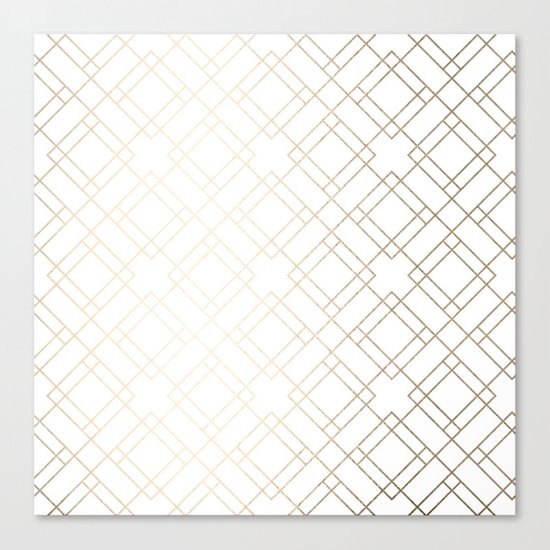 Simply Mod Diamond White Gold Sands on White Canvas Print