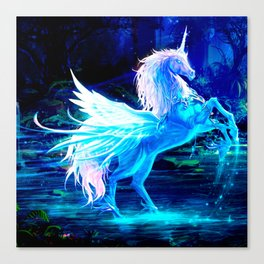 Unicorn Forest Stars Cristal Blue Canvas Print