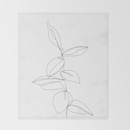 One line minimal plant leaves drawing - Berry Throw Blanket