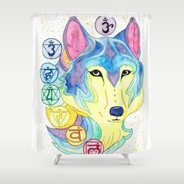 Chakra Wolf Shower Curtain